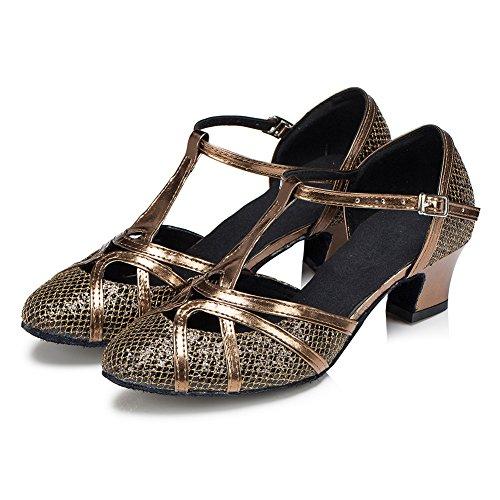 Haodasi Frauen Mädchen Bling Sequins lateinisch Tanzschuhe Satin Ballroom Modern Soft Dancing Shoes Copper 8cm