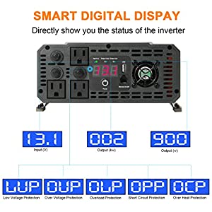 Ampeak 2000W Power Inverter 12V DC to 110V AC Car Converter 3 AC Outlets 2.1A USB Inverter