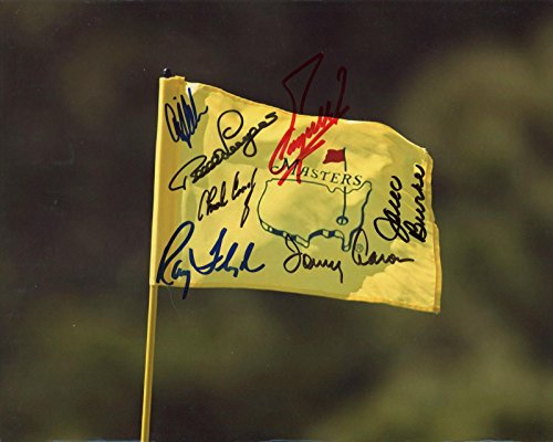 MASTERS GOLF FLAG HAND SIGNED 8x10 PHOTO+COA SIGNED BY 7 MASTERS CHAMPS - Autographed Golf Photos