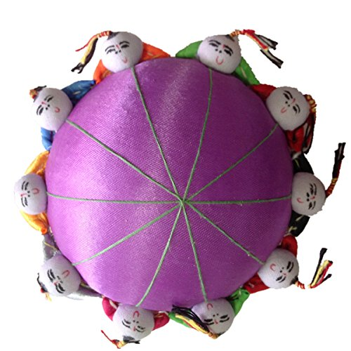 TECH-P Creative Life 4' Oriental Tang Dynasty Needle Pin Cushion With 10 Toy Kids-Purple