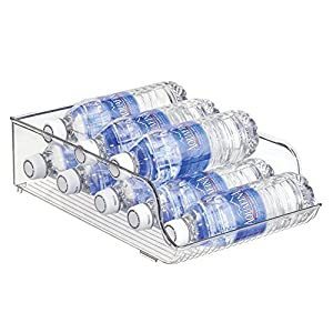 InterDesign 4-Piece Kitchen Stackable Organizer Set: Fridge Binz Egg Holder, Water Bottle Storage, Stackable Wine Holder, Soda Can Plus Holder - Clear
