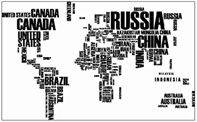 World Map in Country Names Vinyl Wall Decal for Living Room Decor