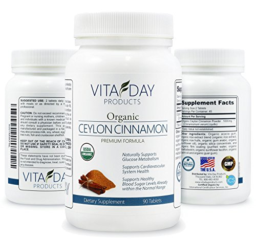 Organic Certified Ceylon Cinnamon 1000mg - for Heart & Circulatory Health, Powerful Antioxidant, Arthritis Pain - 90 Pills Supplement - Easy to Swallow Tablets Not Huge Capsules