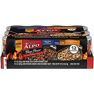 Purina ALPO Gravy Wet Dog Food Variety Pack, Chop House T-Bone Steak & Rotisserie Chicken Flavor - (12) 13 oz. Cans
