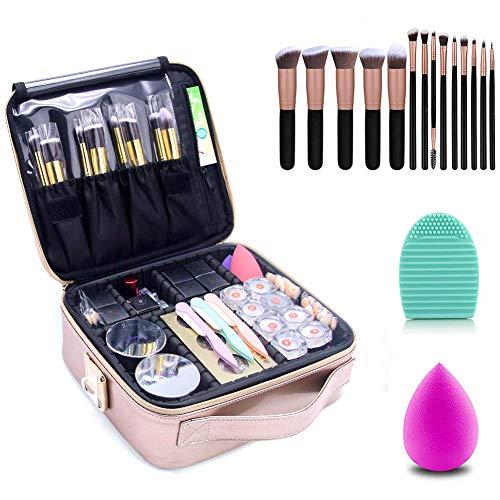 Makeup Travel Case Makeup Bag Train Case Make Up Organizers And Storage with 14 Pcs Premium Makeup Brushes Set Kit Rose Golden, Blender Sponge and Brush Egg (Rose Gold with 14 Pcs Brushes) ()