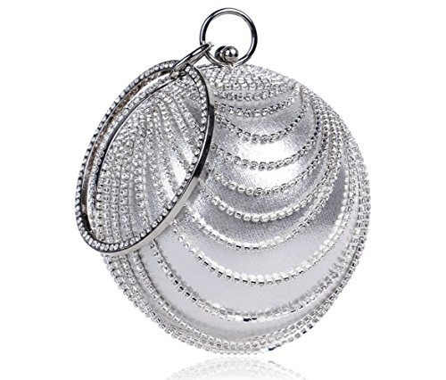 Sparkling Handbag Women's Bag Dress Luxurious Women Stage Tote Spherical Party Silver Ring Rhinestone Evening Clutch Nightclub Bag IqwZCt1Y