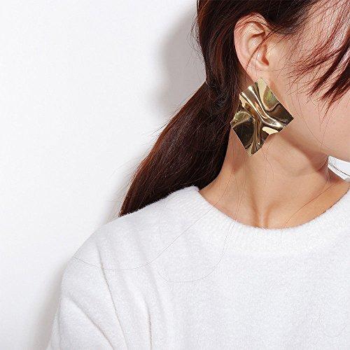 patcharin shop Vintage Geometric Irregular Earrings Women Zinc Alloy Statement Punk Jewelry Color Gold