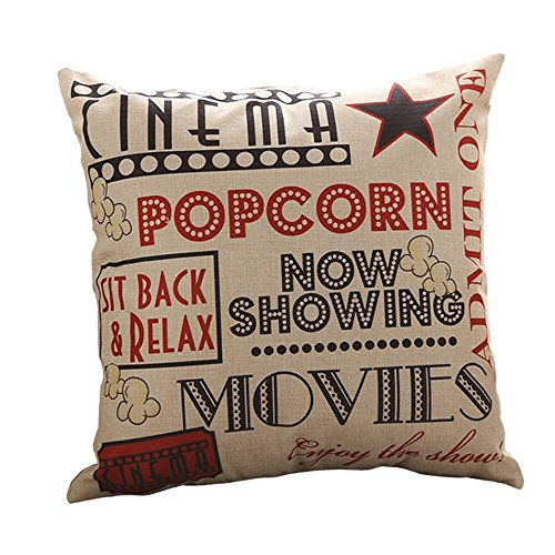 Do4U Cotton Linen Home Decor Sofa Throw Pillow Cover Cushion Case 18 x 18 inch (Alphabet) (POP Moive)