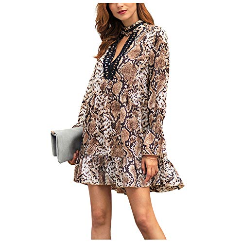 (Snakeskin Dress Sexy V Neck Bell Long Sleeve Slim Fit Stretchy Waist Ruffle Swing Animal Print Short Mini Dresses Brown )