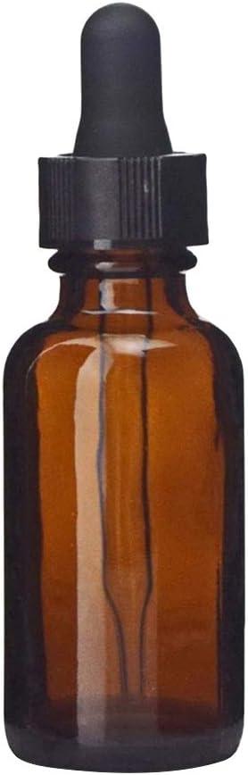 Frcolor Botella de cristal ambarina 30ml con el dropper para la aromaterapia del perfume del aceite esencial de DIY
