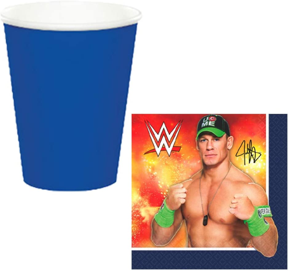 Add An Age Birthday Banner Balloons and Exclusive Pin Napkins Cups Ultimate WWE Wrestling Birthday Party Supplies Pack With Decorations For 16 Guests With Plates Table Decorating Kit Tablecover