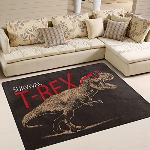 [Tyrannosaurus Rex Dinosaur Pattern Print Area Rug Carpet Floor Mat For Dining Room Living Room Bedroom, 5'3