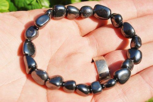 CHARGED Hematite Crystal Bracelet Tumble Polished Stretch...