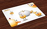 Ambesonne Easter Place Mats Set of 4, Happy Chicks Emerging Out of a Cracked Egg Funny Cartoon Style Animals, Washable Fabric Placemats for Dining Room Kitchen Table Decor, Orange Yellow White