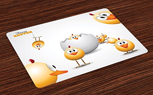 Ambesonne Easter Place Mats Set of 4, Happy Chicks Emerging Out of a Cracked Egg Funny Cartoon Style Animals, Washable Fabric Placemats for Dining Room Kitchen Table Decor, Orange Yellow White by Ambesonne