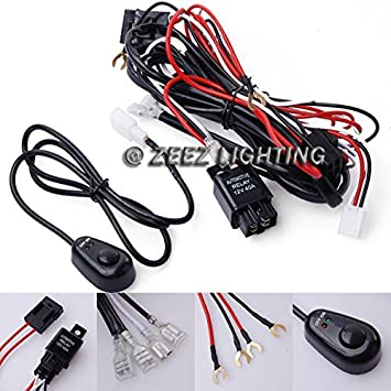 Universal Relay Harness Wire Kit LED ON//OFF Switch For Fog Lights HID Worklamp