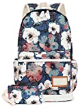 FITMYFAVO Backpack School Bookbag | Daypack Travel Bag Peony with Wallet