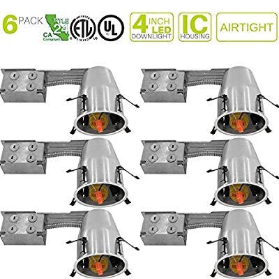 "6 Pieces 4"" Remodel LED Can Air Tight IC Housing LED Recessed Lighting"