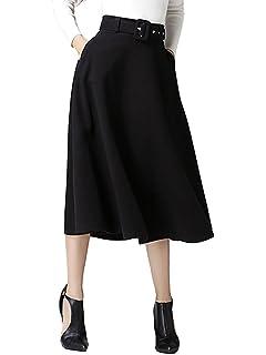 6b31cb4ae CHARLES RICHARDS CR Women's High Waist A-line Flared Long Skirt Winter Fall Midi  Skirt