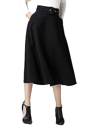 51e9849c7 CR Women's Black High Waist A-line Flared Long Skirt Winter Fall Midi Skirt  Black