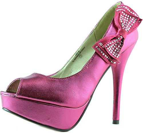 Womens Platform Peep Toe Side Bow Decorated Stilettos High Heel Party Dress Sandal Pump Fashion Shoes Fuchsia MKJ8o