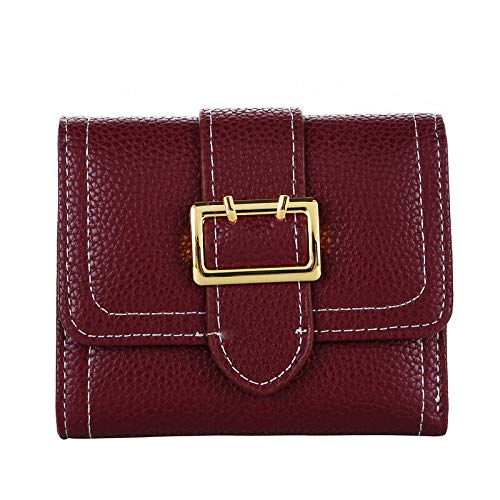 (Hot Purse Wallet Card Pack Buckle Wallet Lychee Pattern Belt Coin Popular Hot QP (Color - Red Wine))