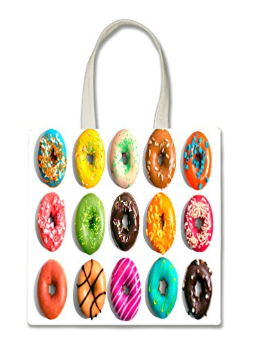 Bright Colorful Donuts Doughnuts Yummy Halloween Trick Or Treat Polyester White Tote Bag 15x16x -