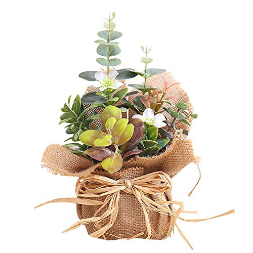 Hete-supply Artificial Flowers for Crafts Burlap Potted Fake Flower Artificial Flower Bouquet Wedding Bridal Decoration Flower Bouquets Plastic Floral for Home Office Decor