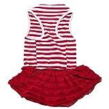 Binmer(TM) Cute Dog Clothes Pet Dog Costume Stripe T-Shirt Skirt Puppy Princess Dress Dog Apparel (Red, XS)