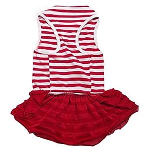 Binmer(TM)Cute Dog Clothes Pet Dog Costume Stripe T-shirt Skirt Puppy Princess Dress Dog Apparel (Red, XL)