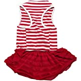 Binmer(TM)Cute Dog Clothes Pet Dog Costume Stripe T-shirt Skirt Puppy Princess Dress Dog Apparel (Red, M)