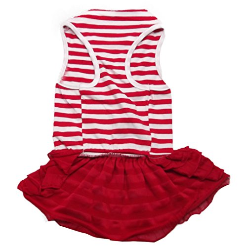 Skirt Pet Clothes - Binmer(TM)Cute Dog Clothes Pet Dog Costume Stripe T-shirt Skirt Puppy Princess Dress Dog Apparel (Red, L)