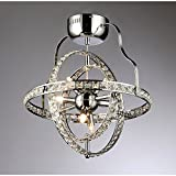 6-Light Celestial Industrial-Style Crystal Chandelier in Chrome Finish