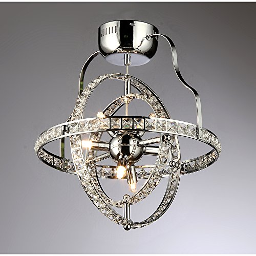 6-Light Celestial Industrial-Style Crystal Chandelier in Chrome Finish by Warehouse of Tiffany