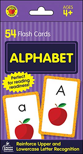 Carson Dellosa - Alphabet Flash Cards - 54 Cards for Toddler Early Learning, Uppercase and Lowercase Letters, ABCs with Bonus Game Card, Ages 4+ (Brighter Child Flash Cards), Packaging may vary. (Two Letter Words With Q Words With Friends)