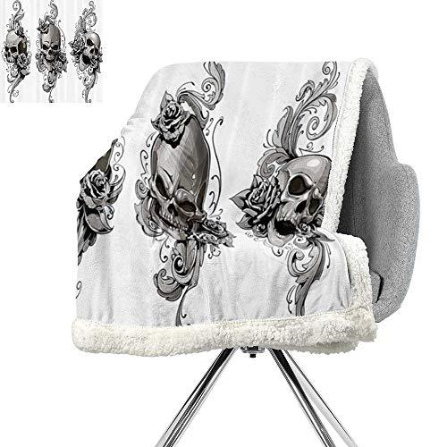 Tattoo Decor Berber Fleece Blanket,Tattoo Artist Angel Inspired with Tattoo Ink Pencil and Fierce Skull Art,Black and White,Warm Blanket W59xL31.5 Inch ()