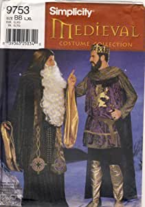 Simplicity Sewing Pattern - 9753 - Use to Make - Men's Medieval Renaissance Costumes - Wizard, King - Sizes L, XL