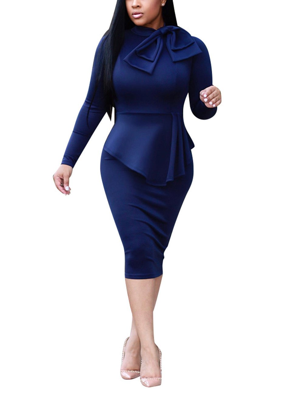Autumn Solid Business Suit Peplum Midi Skirt Outfit for Ladies Navy Blue XL