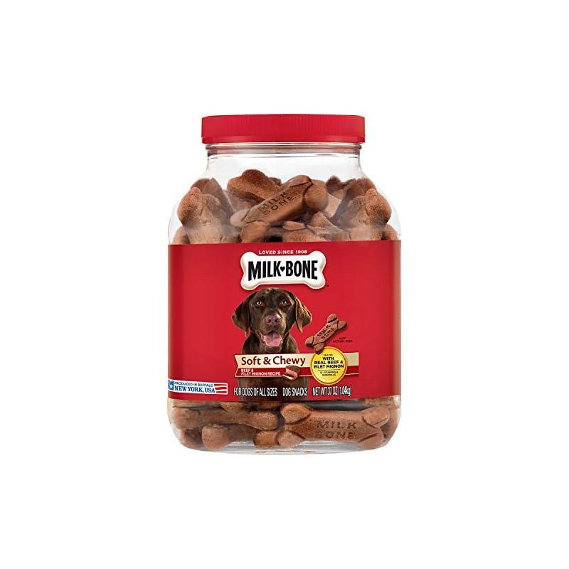 dog supplies online milk-bone soft & chewy beef & filet mignon recipe dog snacks (37 oz.) pack 2