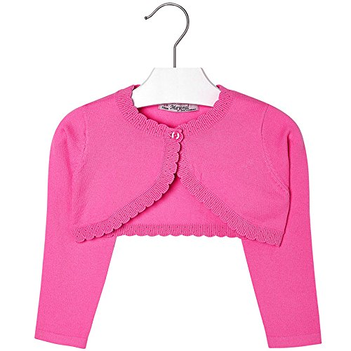 Mayoral Girls 2T-9 Fuchsia-Pink Scallop Edge Knit Shrug Cardigan Sweater, Fuchsia,3 by Mayoral