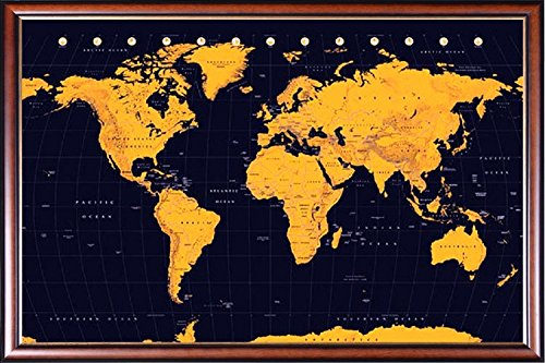 FRAMED World Map - Amber and Navy 24x36 Poster Dry Mounted i