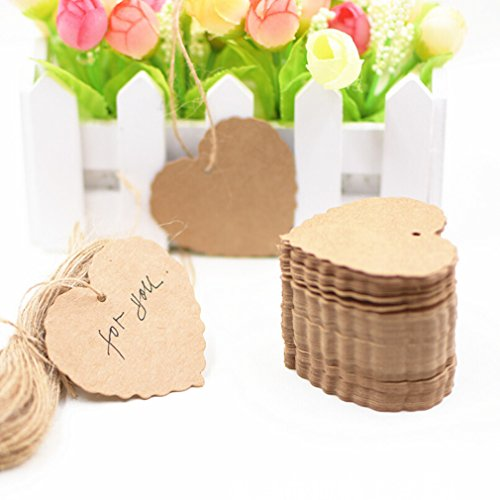 Paper Gift Tags Wedding Favour Tags Scallop Label Luggage Wedding Blank + Strings,brown ()