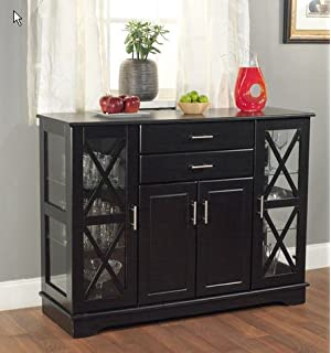 Simple Living Kendall Black Buffet Wood Glass Dining