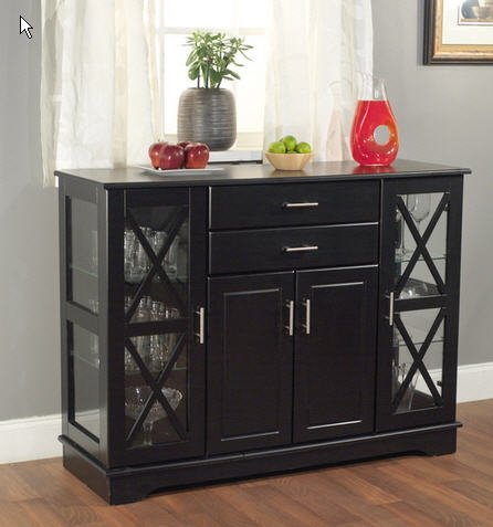 Simple Living Kendall Black Buffet Wood Glass - Kendall Room Dining