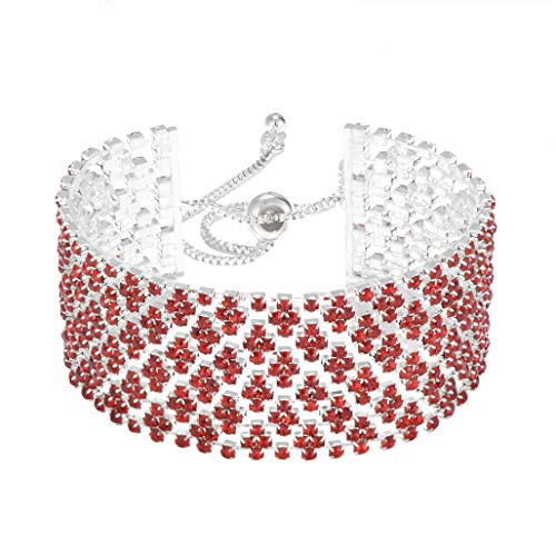 (IDesign Rhinestone White Crystal Bracelet Adjustable Link Bracelet Bangle Silver Plated Wedding Bridal Jewelry for Women Girls Gift for Birthday Party Everyday wear (White))