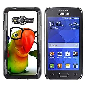 Caucho caso de Shell duro de la cubierta de accesorios de protección BY RAYDREAMMM - Samsung Galaxy Ace 4 G313 SM-G313F - Cute Friendly Parrot