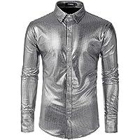 JOGAL Men's Dress Shirt Sequins Button Down Shirts 70s Disco Party Costume