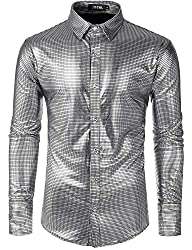 Men's Long Sleeve Sequins Dress Shirt