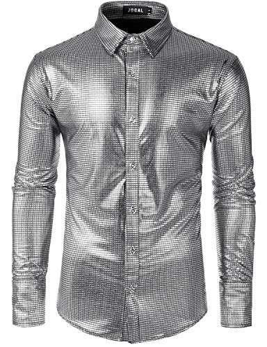 JOGAL Men's Dress Shirt Sequins Button Down Long Sleeve Shirts 70s Disco Party Costume Large A352 Silver]()