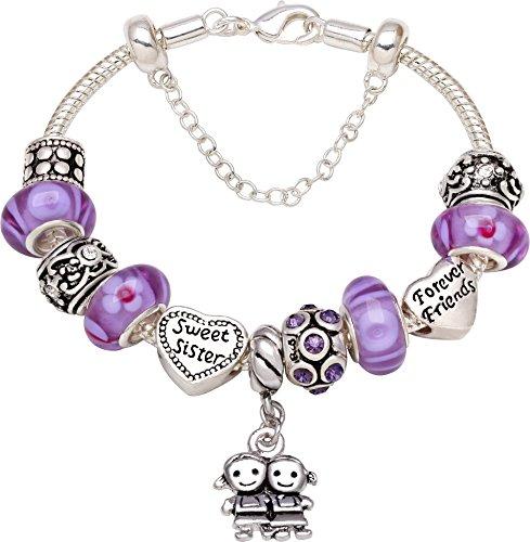 Sweet-Sister-Forever-Friend-Love-Heart-Bead-Charm-Bracelet